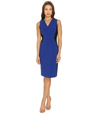 Ellen Tracy Color Block Wrap Sheath Cobalt Women's Dress Blue