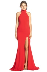 Jay Godfrey 'Cameo' Backless Crepe Gown Bright Red