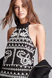 Forever 21 Twelve Embroidered Crop Top Black White