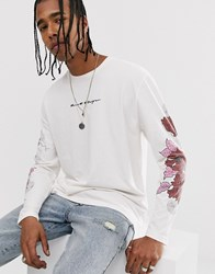 Heart And Dagger Long Sleeve Branded T Shirt With Side Rose Embroidery White