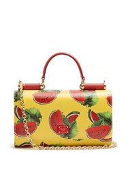 Dolce And Gabbana Watermelon Print Leather Cross Body Bag Yellow Multi