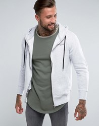 Illusive London Zip Through Hoodie In Grey With Funnel Neck Grey