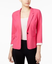 Kensie Notched Collar One Button Blazer Bright Fuchsia
