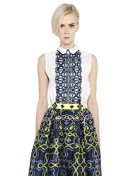 Peter Pilotto Sleeveless Lace And Cotton Poplin Shirt White Blue