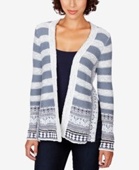 Lucky Brand Striped Border Print Cardigan Blue Multi