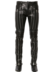 Christian Dada 17Cm Multi Zip Leather Biker Pants Black