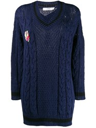 Mr And Mrs Italy Chunky Knit Jumper Blue