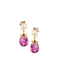 Indulgems Mother Of Pearl And Pink Quartz Drop Earrings Multi