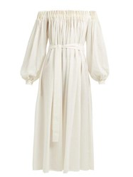 Gabriela Hearst Otalora Off The Shoulder Wool Blend Maxi Dress Ivory