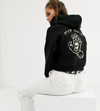 Santa Cruz Hando Cropped Hoodie With Back Print In Black Green Exclusive To Asos
