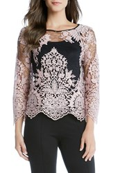 Karen Kane Women's Embroidered Lace Flare Sleeve Top Pink