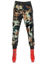 Ashish Camouflage Sequined Silk Jogging Pants