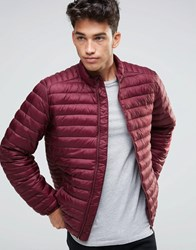 Asos Quilted Jacket With Funnel Neck And Logo In Burgundy Burgundy Red