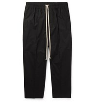 Rick Owens Cropped Cotton Poplin Drawstring Trousers Black