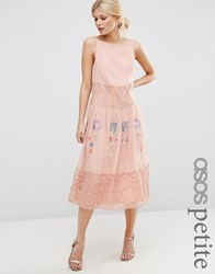 Asos Petite Collections Maxi Slip Dress With Neon Embroidery Pink
