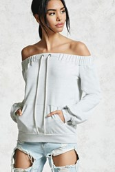 Forever 21 Off The Shoulder Sweater Heather Grey