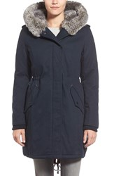 Women's Kensie Faux Fur Trim Cotton Twill Parka Navy