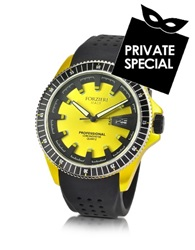Forzieri Yellow Aluminum Case Watch W Rubber Strap