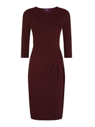 Hotsquash Long Sleeved Damson Kneelength Dress Burgundy