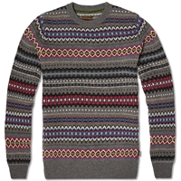 Barbour Heritage Caistown Fair Isle Crew Storm Grey