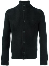 Sun 68 Round Neck Cardigan Black