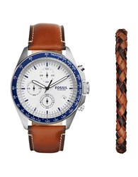 Fossil Sport 54 Leather Strap Chronograph Watch Brown