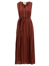 Ace And Jig Julien Belted Checked Cotton Dress Burgundy Multi