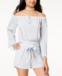 American Rag Juniors' Striped Off The Shoulder Crop Top Created For Macy's Cream Combo