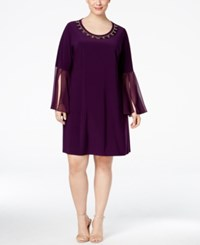 Msk Plus Size Embellished Illusion Bell Sleeve Dress Luxe Plum