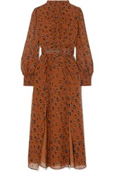 Nicholas Ruched Belted Leopard Print Silk Chiffon Midi Dress Light Denim