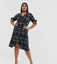 Pink Clove Midi Dress With Tie Sleeves In Scenic Print Black