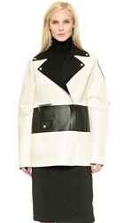 Cnc Costume National Oversized Biker Jacket Black White