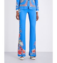 Roberto Cavalli Floral Print Flared Twill Trousers Blue Multi