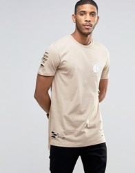 Asos Super Longline T Shirt With Blazing Wheel Print And Step Hem And Distressing Blonde Beige