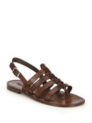 Ralph Lauren Vachetta Leather Multi Strap Sandals Tan