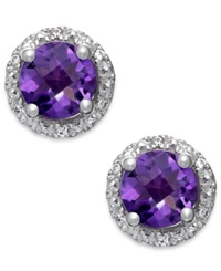 Macy's Amethyst 1 3 4 Ct. T.W. And Diamond Accent Halo Stud Earrings In 14K White Gold