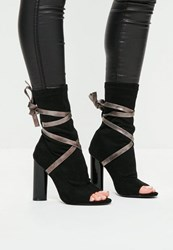 Missguided Black Ankle Tie Peep Toe Strappy Boots