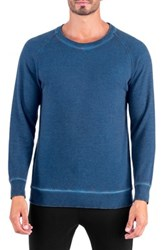 Unsimply Stitched Dirty Washed French Terry Relaxed Neck Crew Sweater Blue