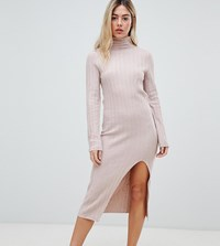Micha Lounge High Neck Knitted Dress In Soft Rib Pink Tan