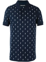 Neil Barrett Embroidered Lightning Bolt Polo Shirt Blue