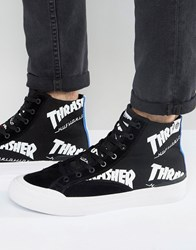 Huf X Thrasher Hi Top Trainers With All Over Logo Black