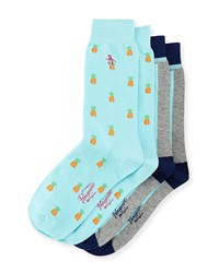 Penguin Pineapple Two Pack Sock Set Aqua Blue Multi