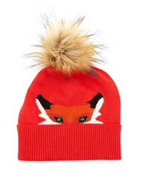 Kate Spade Fox Beanie Hat With Rhinestone Detail