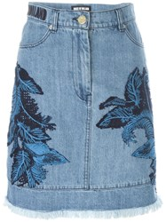 House Of Holland Denim Lace Overlay Skirt Blue