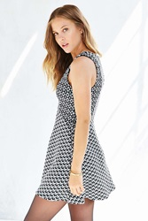 Cooperative Two Tone Textured Knit Skater Dress Black And White