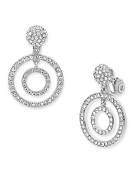 Anne Klein Pave Drop Earrings Silver