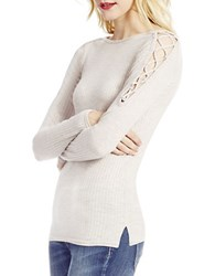 Jessica Simpson Darby Lace Up Shoulder Detail Top Oatmeal