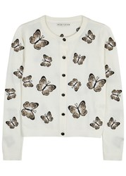 Alice Olivia Ruthy Embroidered Cropped Cardigan Off White