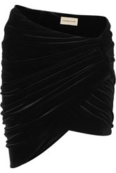 Alexandre Vauthier Draped Stretch Velvet Mini Skirt Black