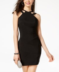 Emerald Sundae Juniors' Double Strap Bodycon Dress Black